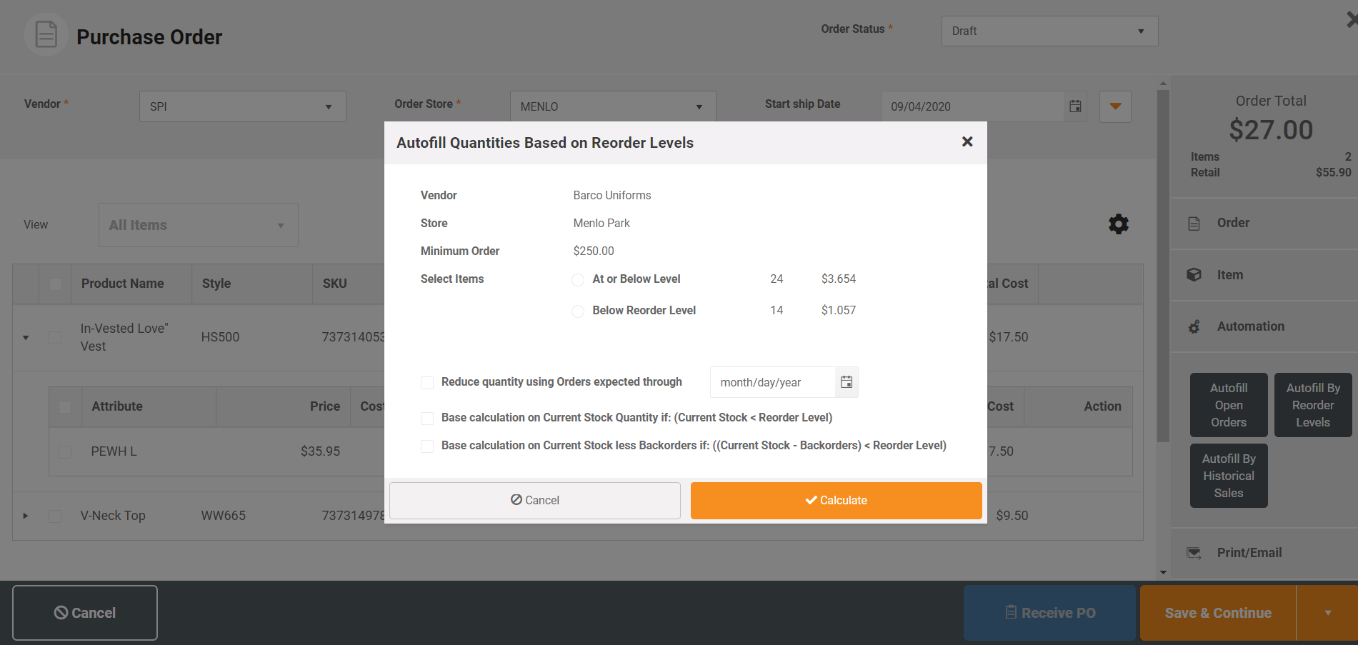 MicroBiz automates your ordering process.  You can add automatically add quantities to purchase order based on current inventory as compared to desired restock levels, historical sales of the item over a set time period or a specific order amount.