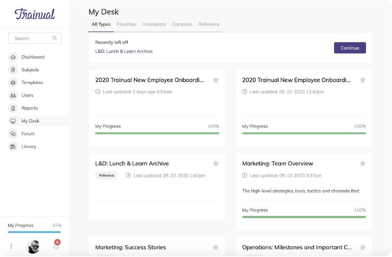 """Trainual """"My Desk"""" view showing your assigned and completed (or incomplete) content."""