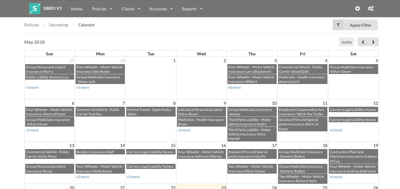 Sibro calendar integration screenshot