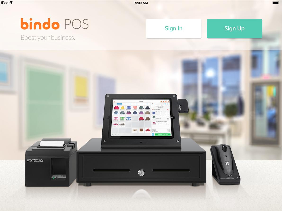 Bindo POS Software - Login screen