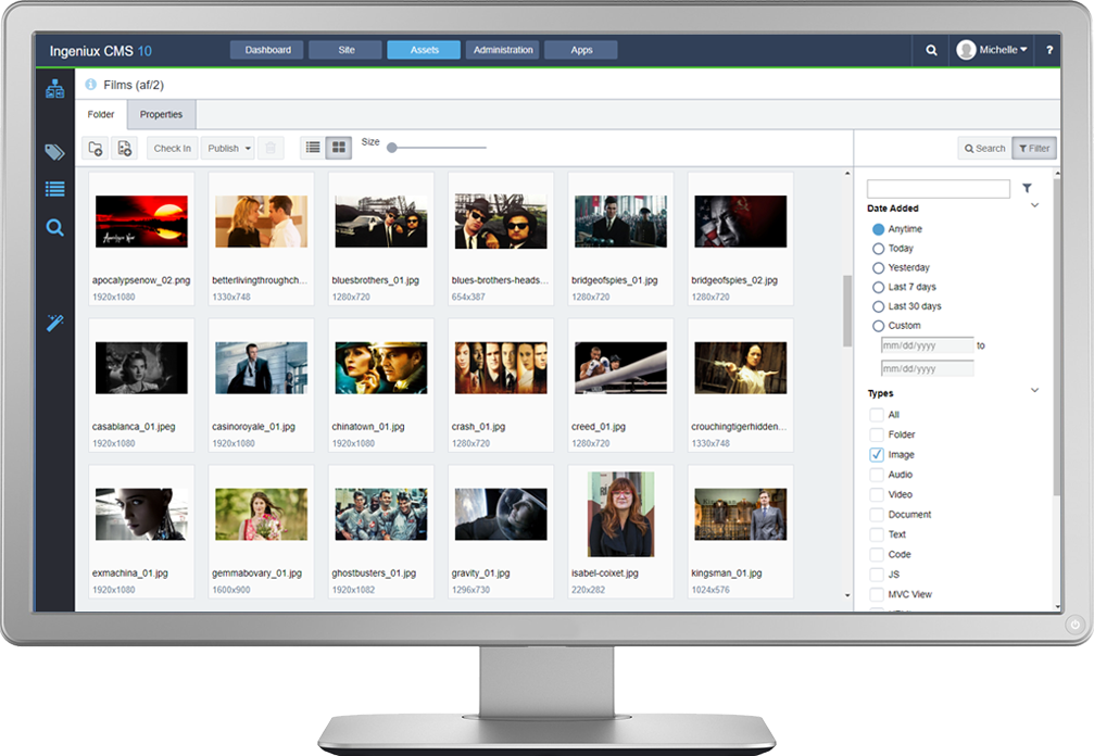 The Ingeniux platform includes powerful Digital Asset Management tools. You can manage images, documents, videos, and dozens of other asset types. The CMS DAM provides full meta management, versioning, renditions, image editing, and other services.