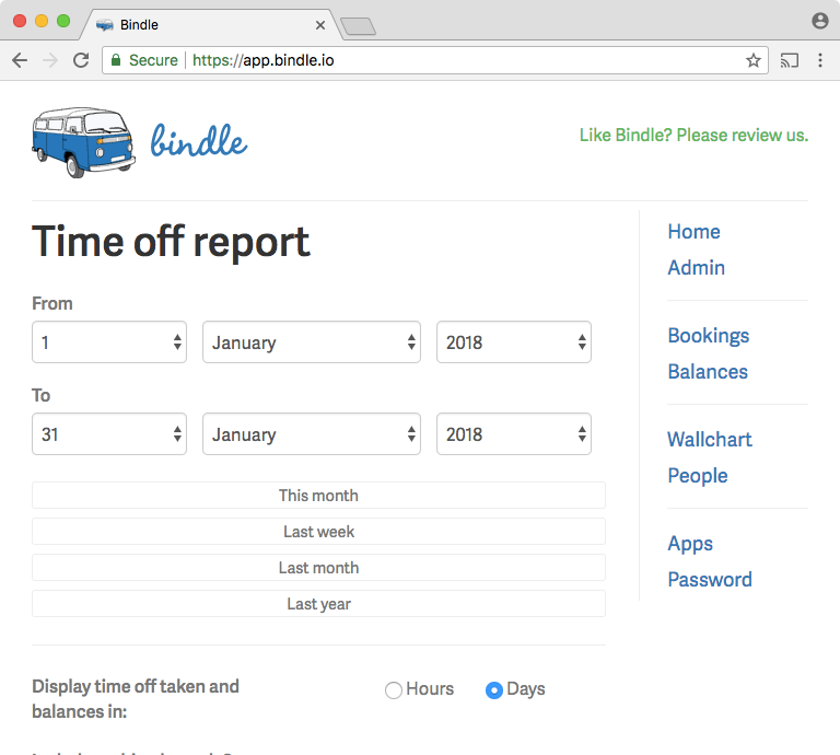 Time off reports can be produced for specified date ranges in Bindle