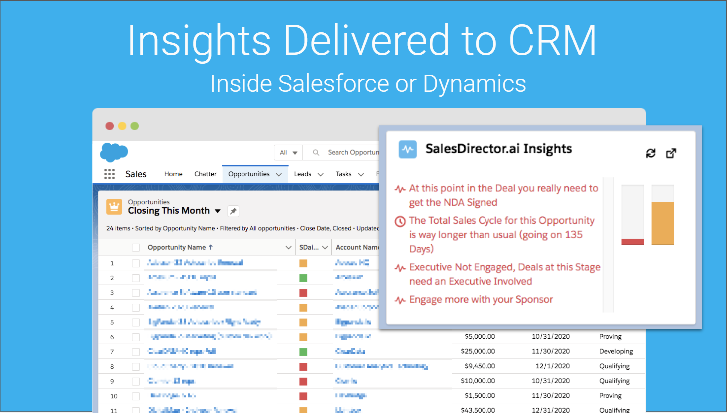All insights and captured activity data is stored in your CRM (automatically)