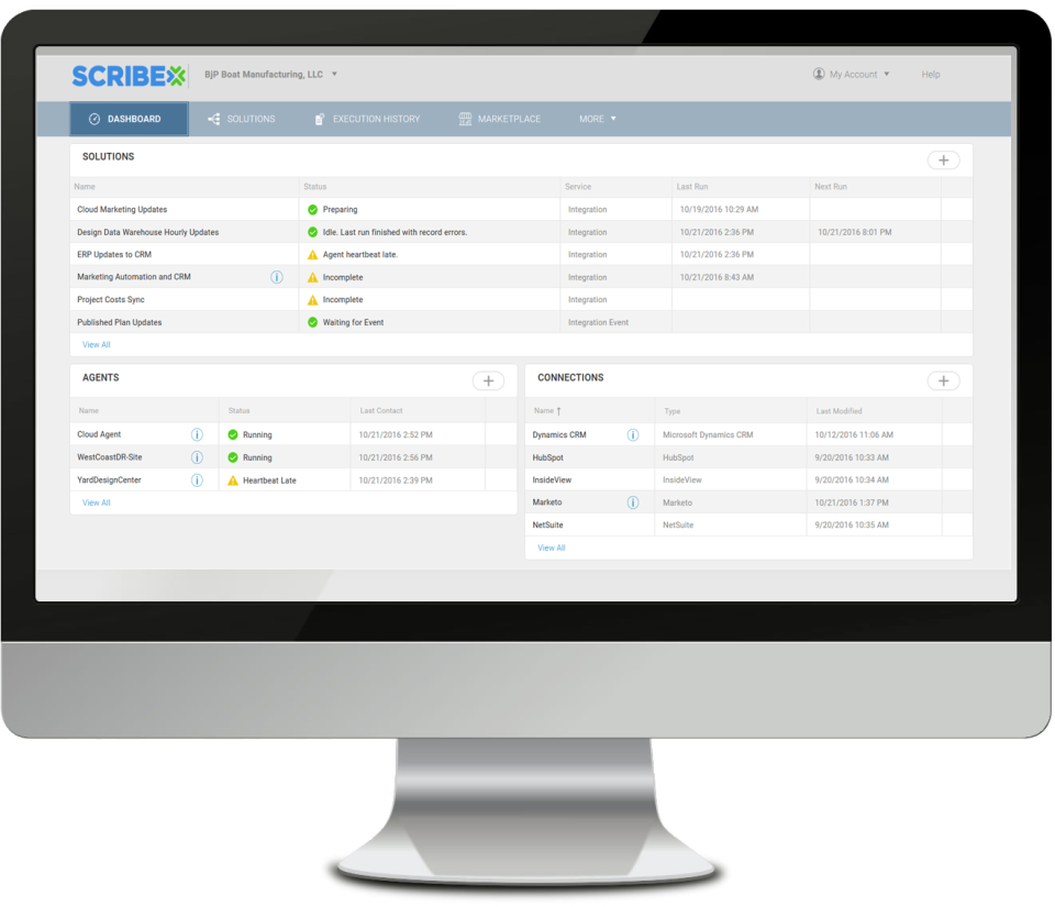 Monitor solution and agents status via the dashboard