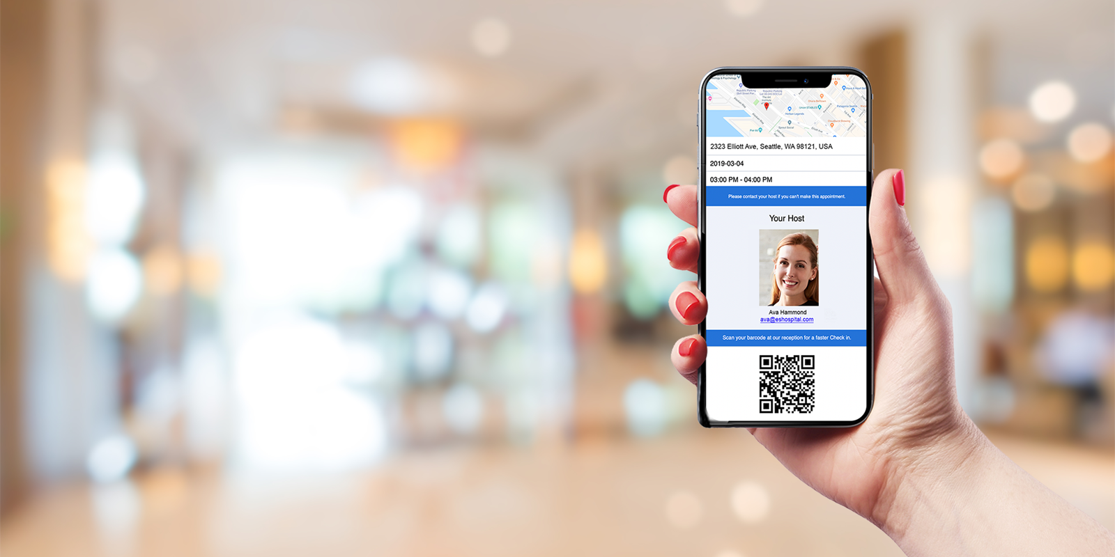 Pre-registered guests receive an email with location and visit details, along with a QR code they can easily scan upon arrival for a check-in time under 5 seconds.