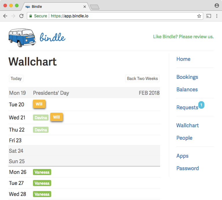 The wallchart in Bindle shows both approved and pending time-off requests, and can be viewed through external calendar applications