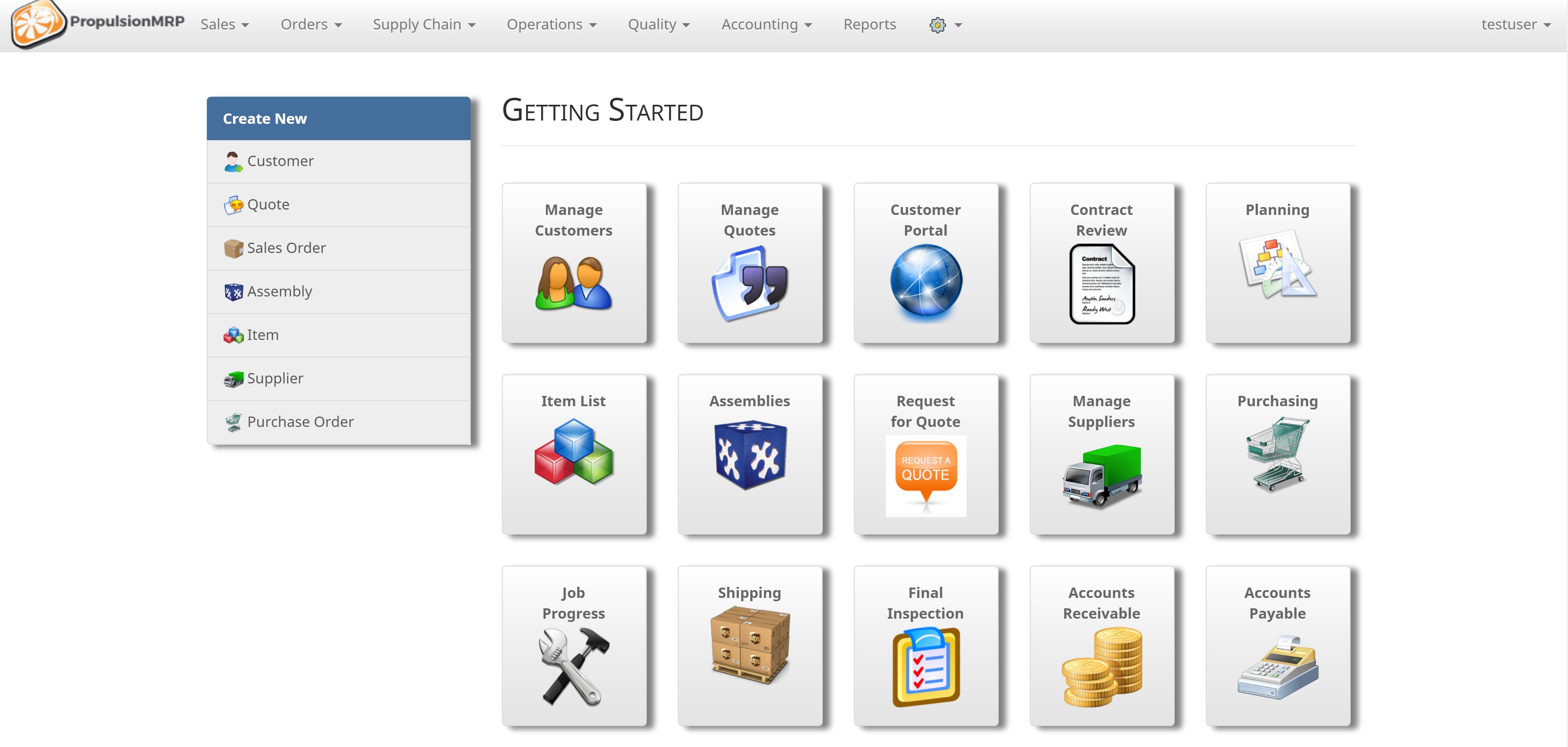 PropulsionMRP Software - Home screen