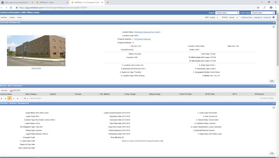 AMTdirect contract information screenshot
