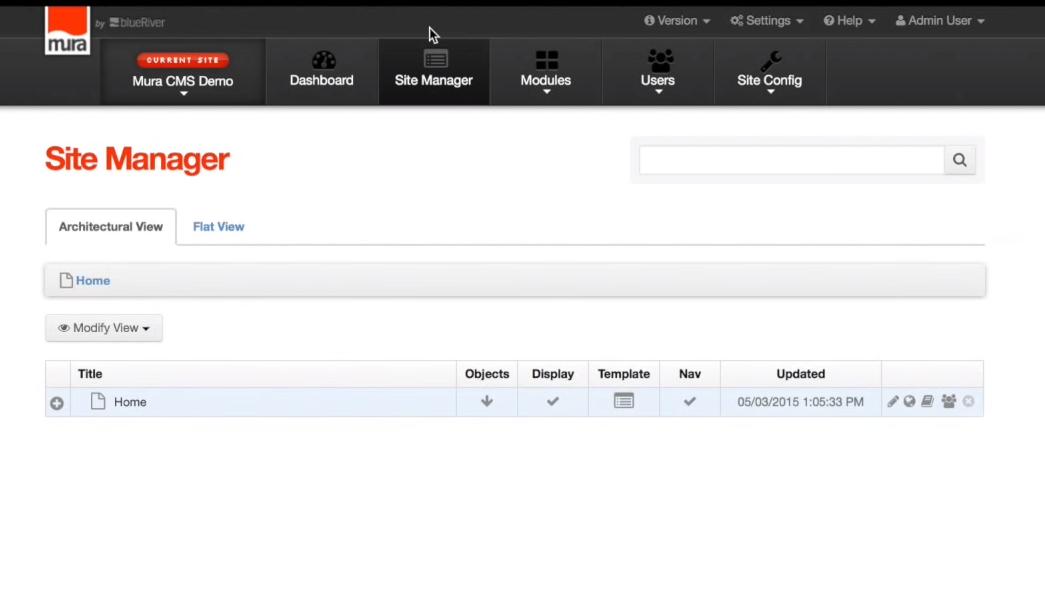 Mura screenshot: Mura site manager