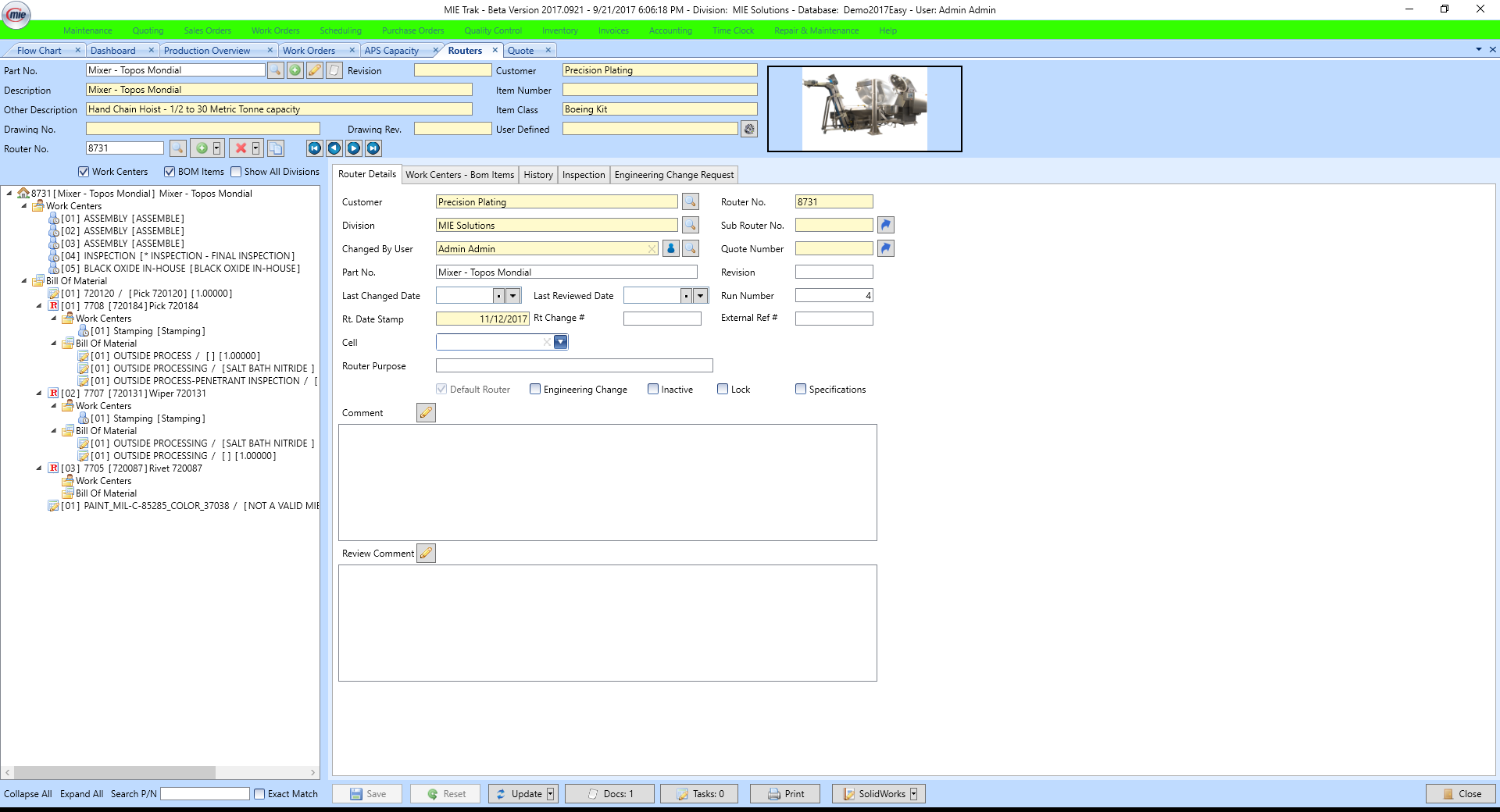 MIE Trak Pro Software - Router with solidworks