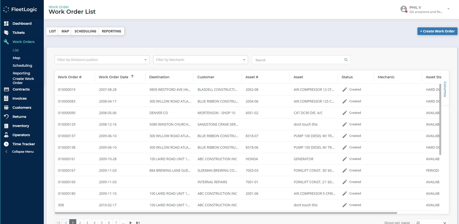 Texada Software - Texada work order list