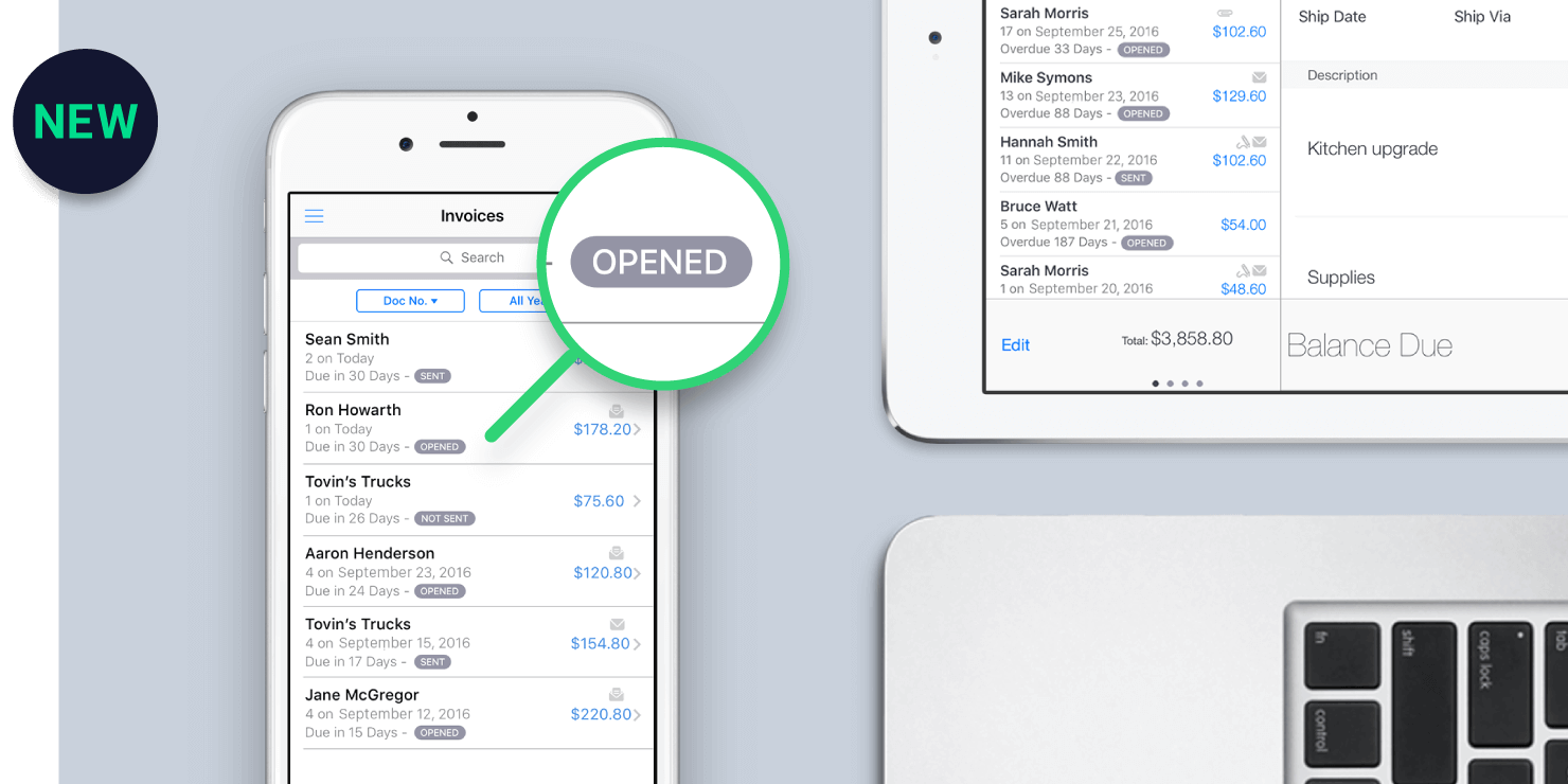 See when invoices have been opened and viewed by a client