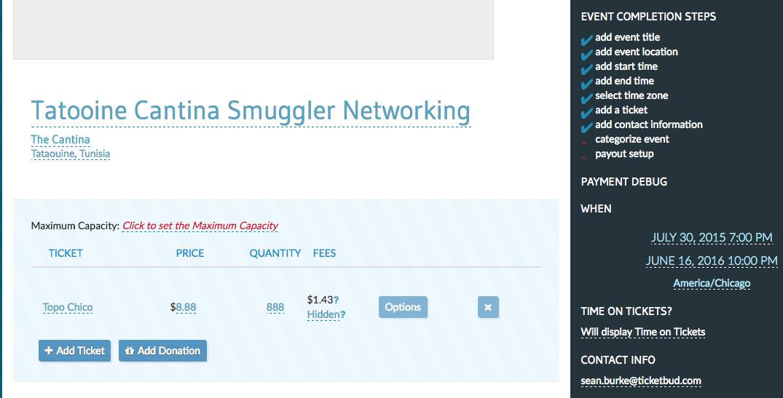 Ticketbud event settings