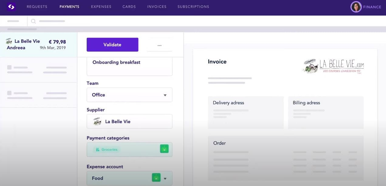 Spendesk Software - Spendesk validate payments