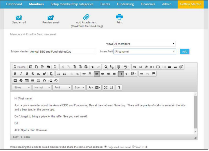 Group email feature in PaySubsOnline allows sending bulk emails to members at one go.