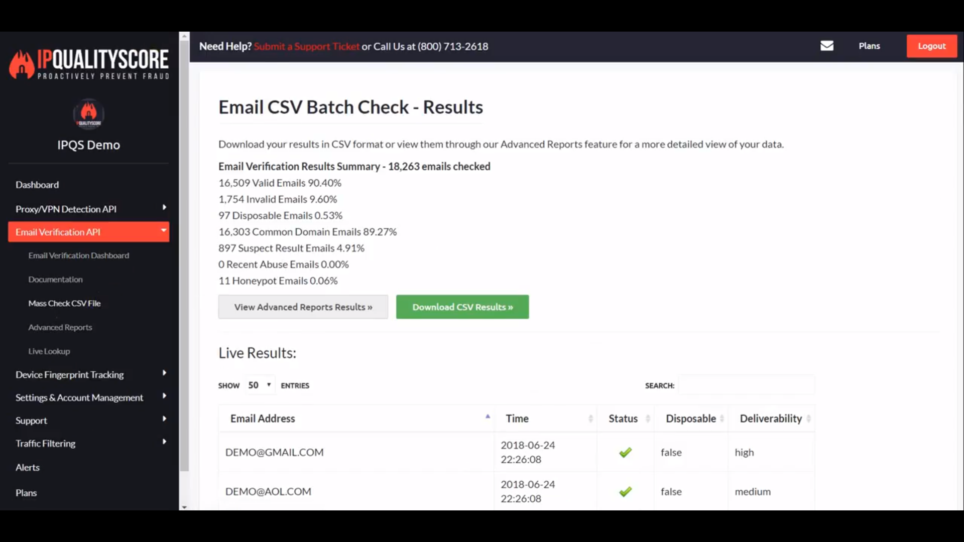 IPQualityScore Email Verification download reports