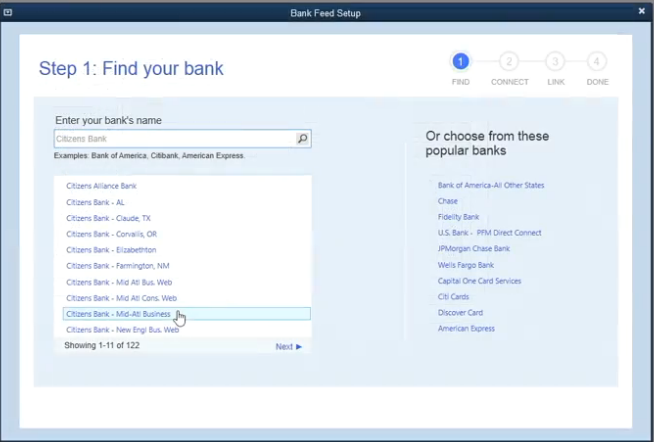 QuickBooks Desktop Pro Software - Choose bank