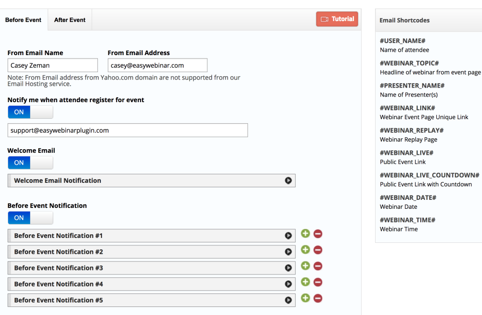 EasyWebinar screenshot: EasyWebinar email system screenshot