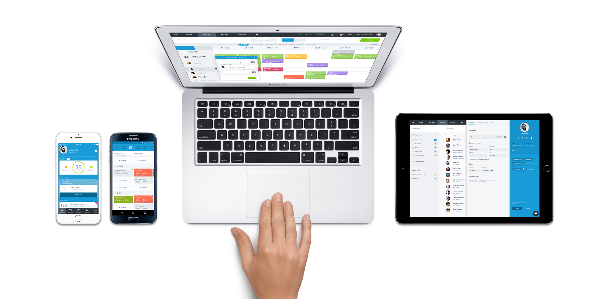 Planday screenshot: Easy schedule overview on desktop, tablet and mobile