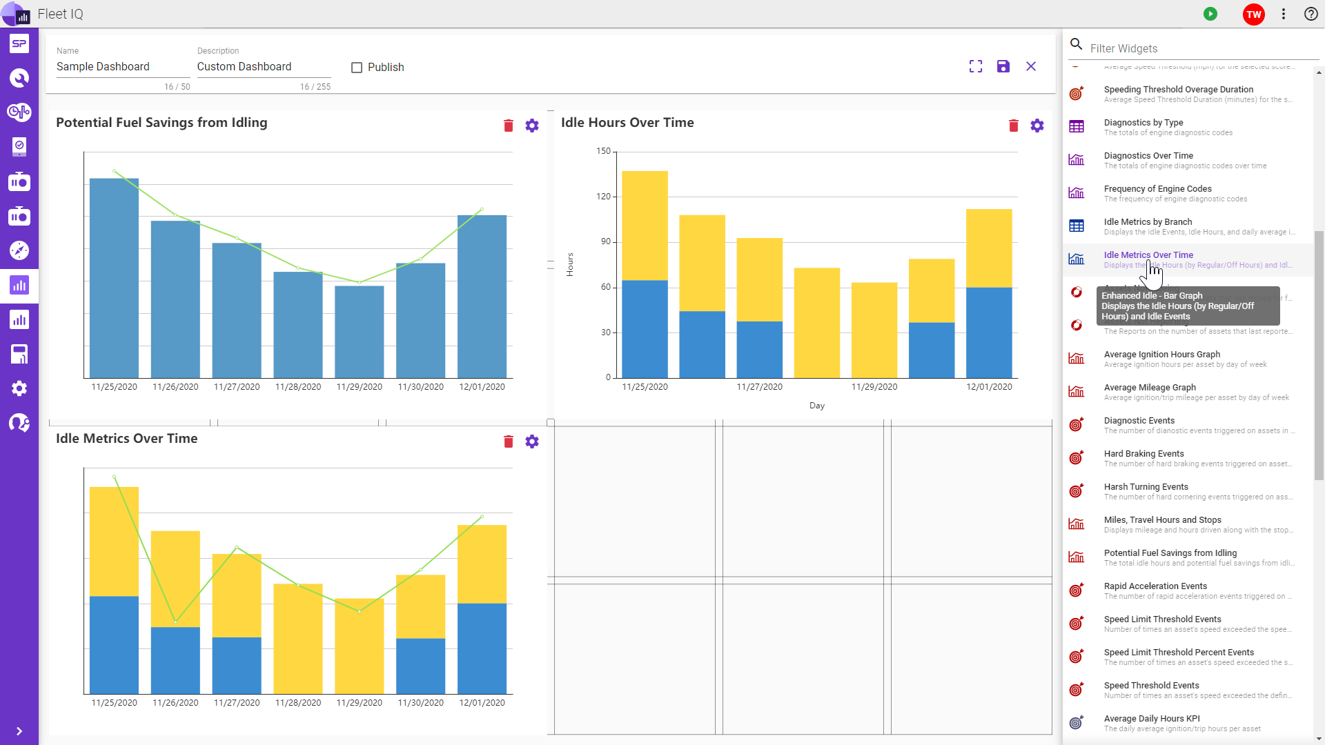 Custom fleet data dashboards with drag and drop functionality