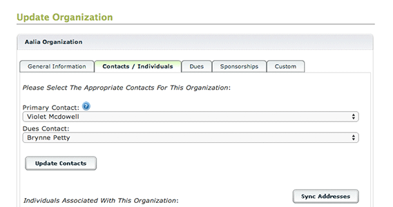 Assign contacts to an organization, providing member access for individuals of a certain organization