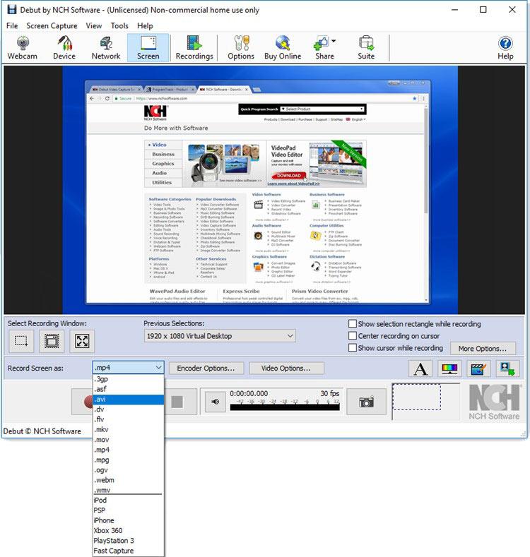 Debut desktop capture