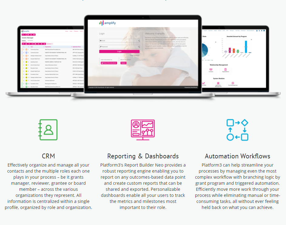 An end-to-end solution to track, manage, and report on your entire grantmaking process, as well as other related business processes.