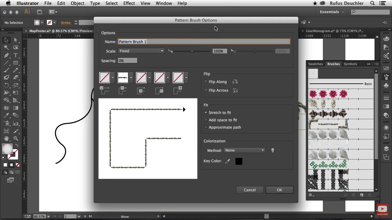 Use images in brushes (pattern brush tool) and choose the way the image runs around corners with Illustrator CC