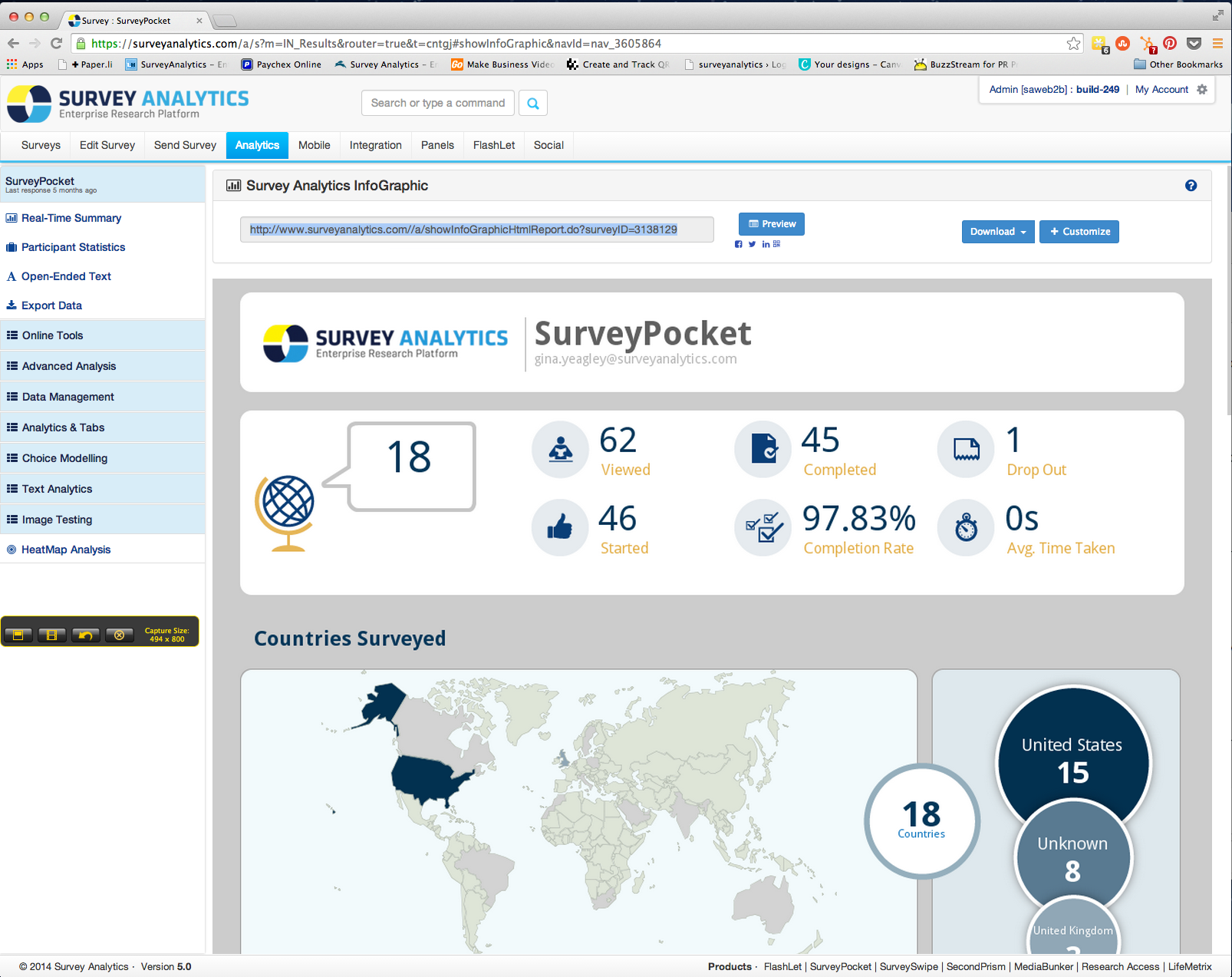 View survey results in a customizable infographic
