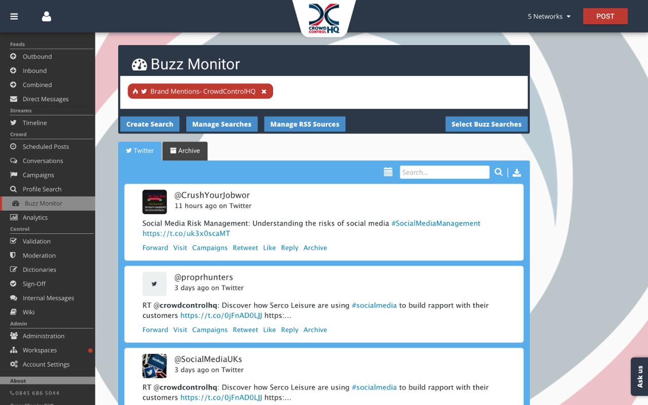Monitor keywords, hashtags and conversations using social listening tools