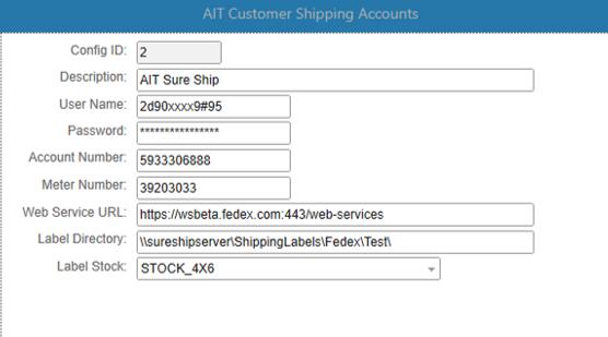 AIT SureShip Software - Customer shipping account %>