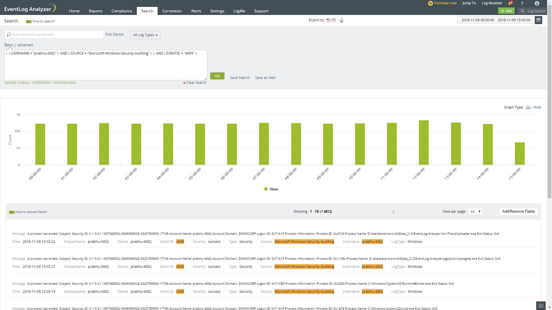 ManageEngine EventLog Analyzer Software - EventLogAnalyzer search screenshot