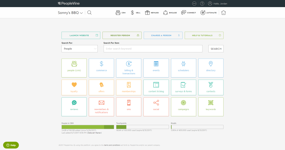 PeopleVine screenshot: PeopleVine dashboard