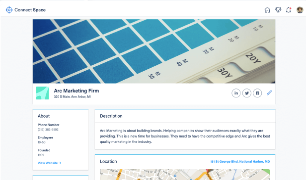 Each business can create a company profile to connect with other users