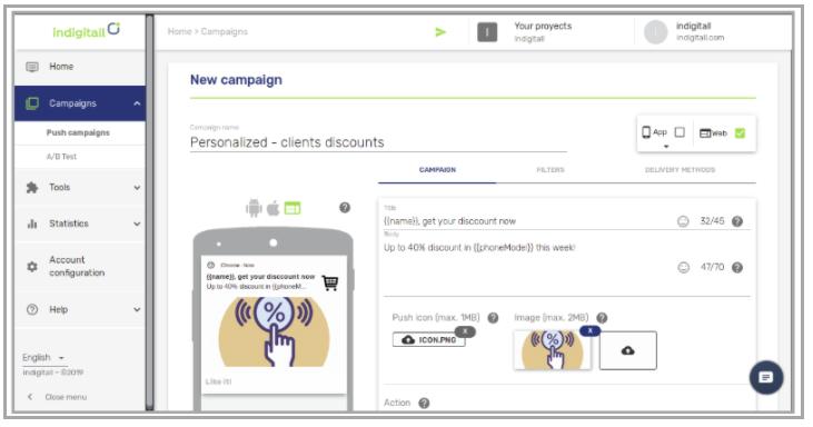 Indigitall campaign designing