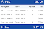 xtraCHEF screenshot: Items can be organized into categories and prices can be tracked