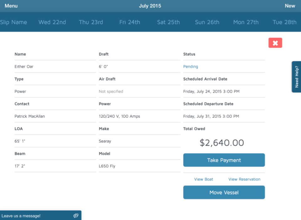 View reservations by day with information on reservations type, contact details, dates, prices, and more