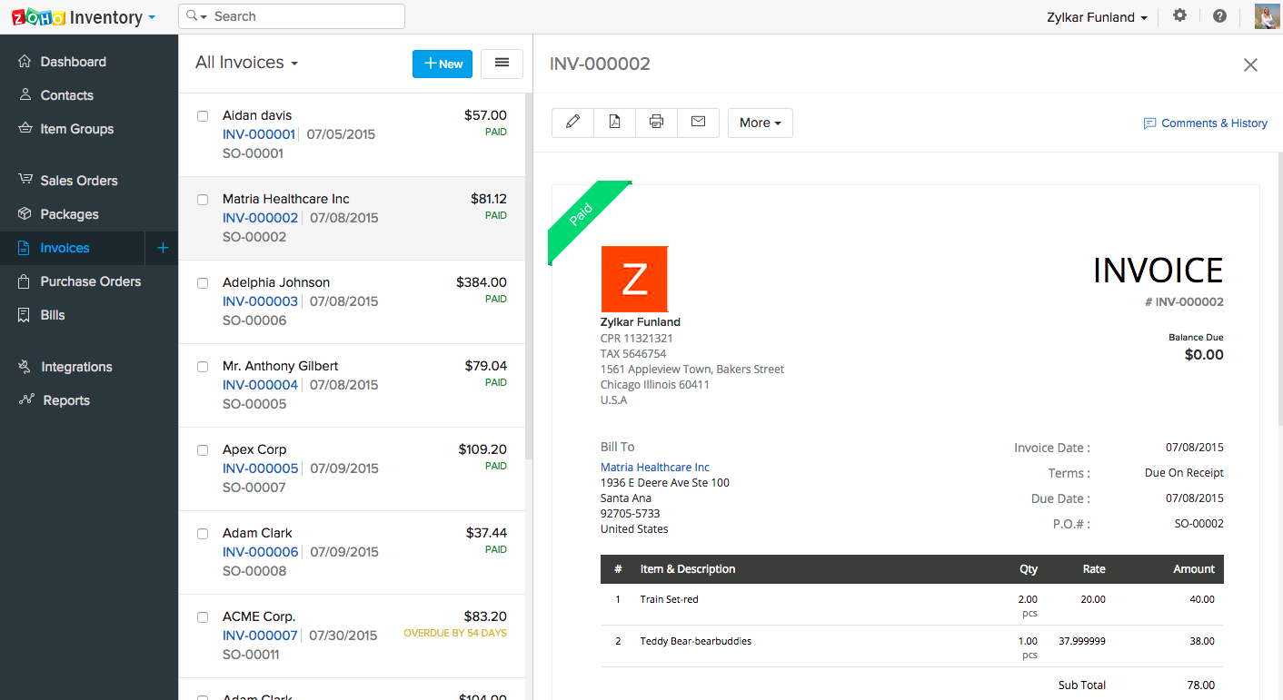 Zoho Inventory Software - Invoices