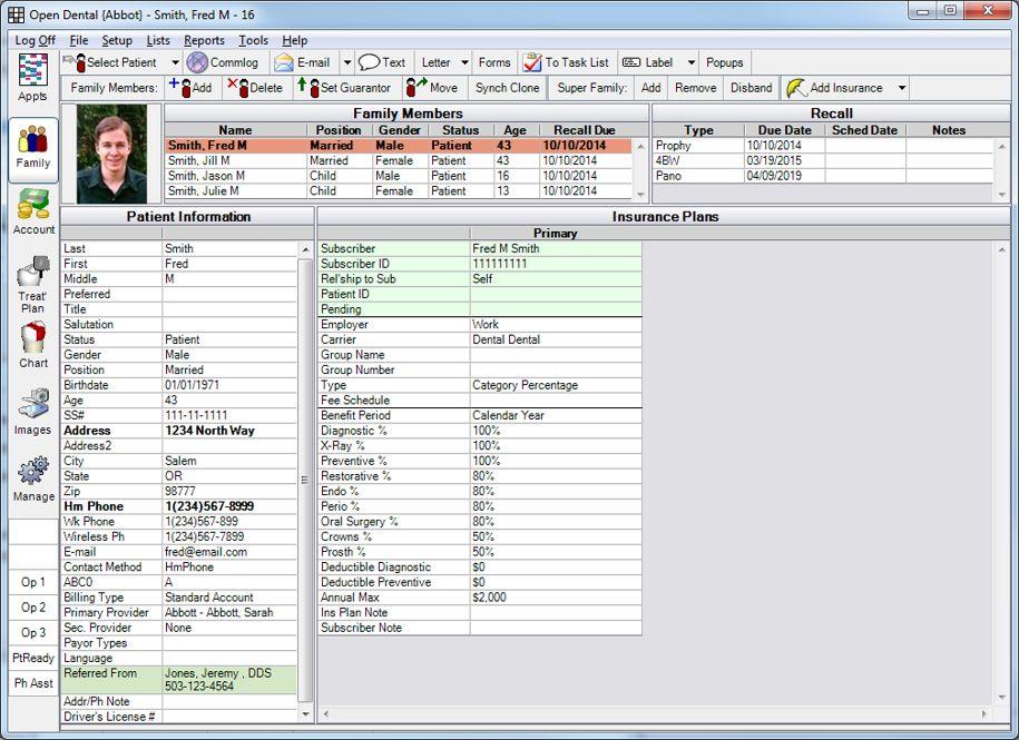 Open Dental Software - Family module