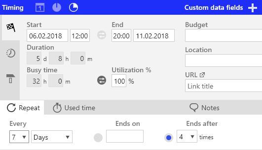 Ganttic's Task dialog with multiple timing options - by Start and End time or by Start/End time and Duration or by Start/End time and utilization.