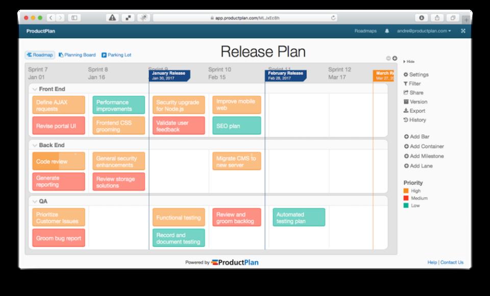 ProductPlan Software - Plan calendar