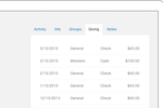 Realm screenshot: Realm automatically generates donation statements