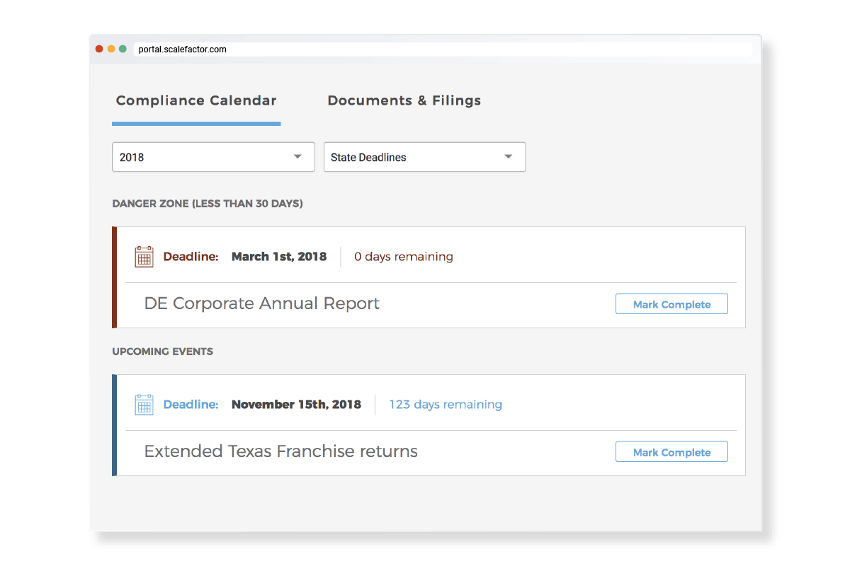 ScaleFactor's compliance calendar helps users track and manage federal and state compliance requirements