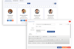 Second CRM screenshot: Employees directory let you easily find contact information or filter the list to find the right person and message them. This also shows information about new joinees or if someone has birthdate in this week or month.