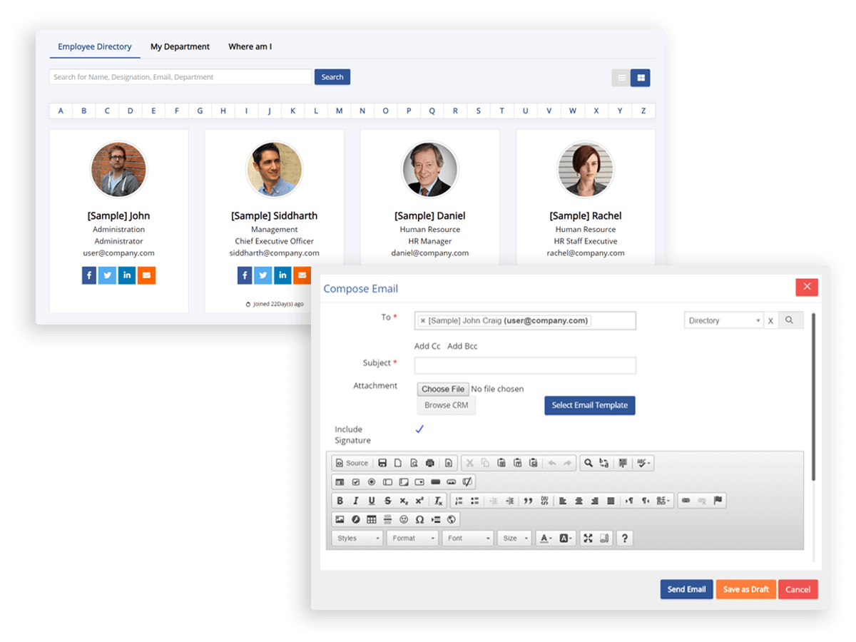 Employees directory let you easily find contact information or filter the list to find the right person and message them. This also shows information about new joinees or if someone has birthdate in this week or month.