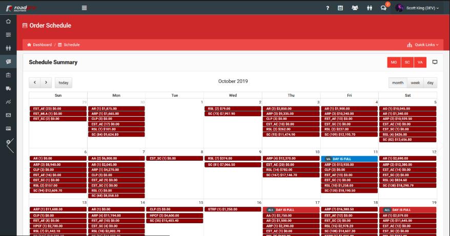 Roadpro order schedule