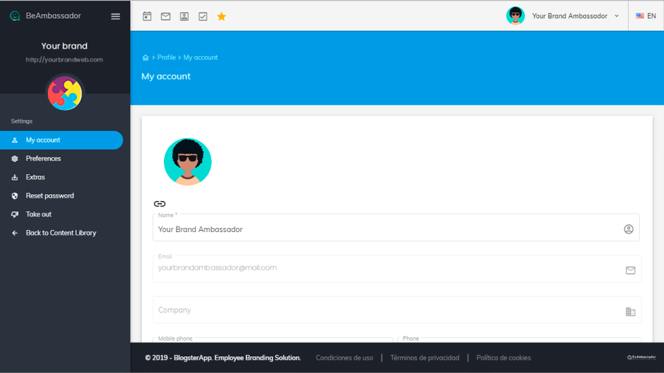 BeAmbassador account dashboard screenshot