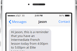 Teachworks screenshot: An SMS lesson reminders add-on is available to enable the sending of customizable messages and notifications direct to student, teacher or parent mobile phones