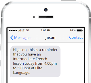 An SMS lesson reminders add-on is available to enable the sending of customizable messages and notifications direct to student, teacher or parent mobile phones