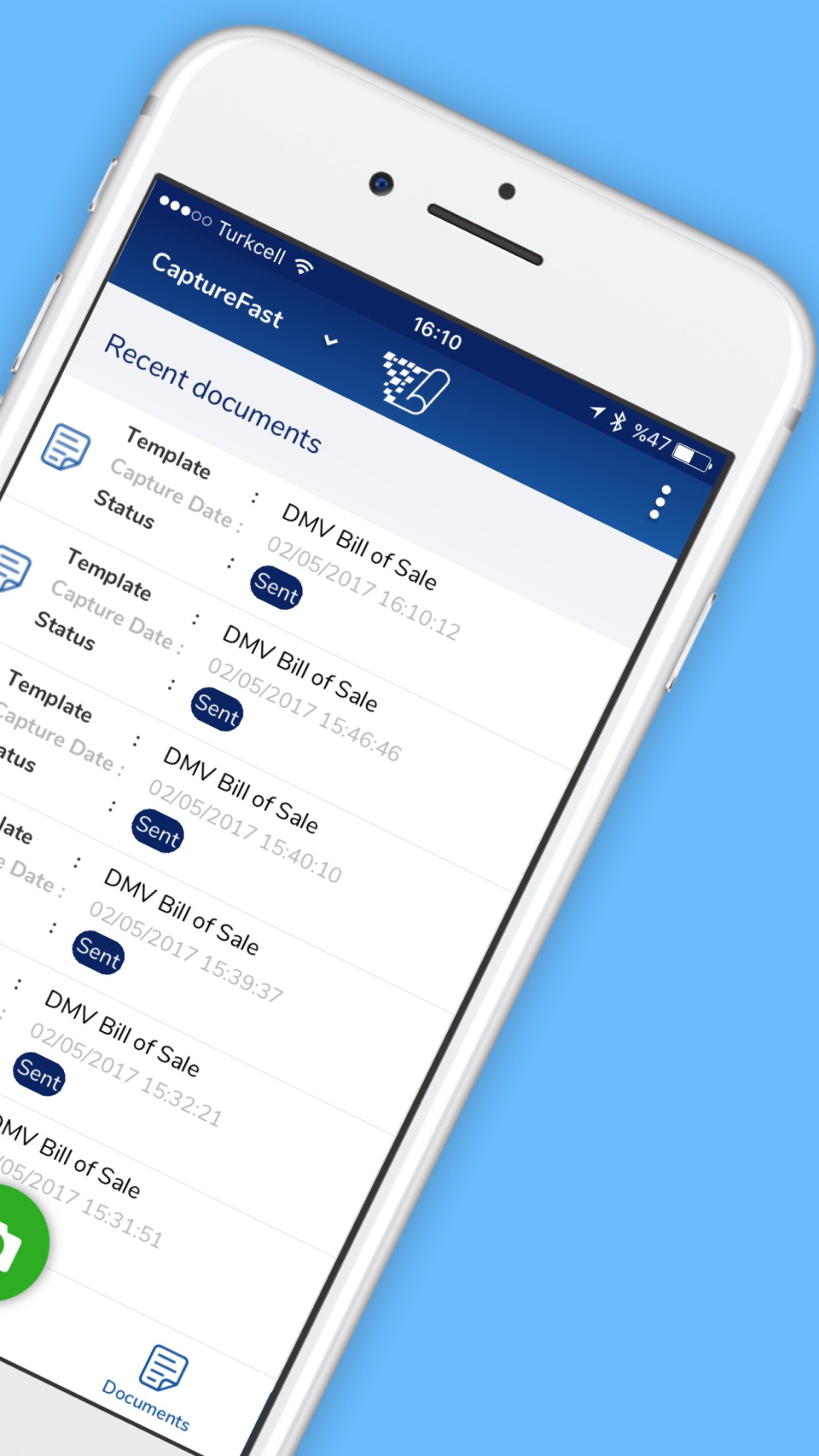 Access recent documents & track their current status